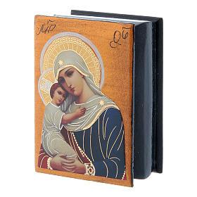 Scatola russa decoupage Madonna dell'aiuto ai defunti 7X5 cm s2