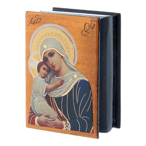 Scatola russa decoupage Madonna dell'aiuto ai defunti 7X5 cm 2