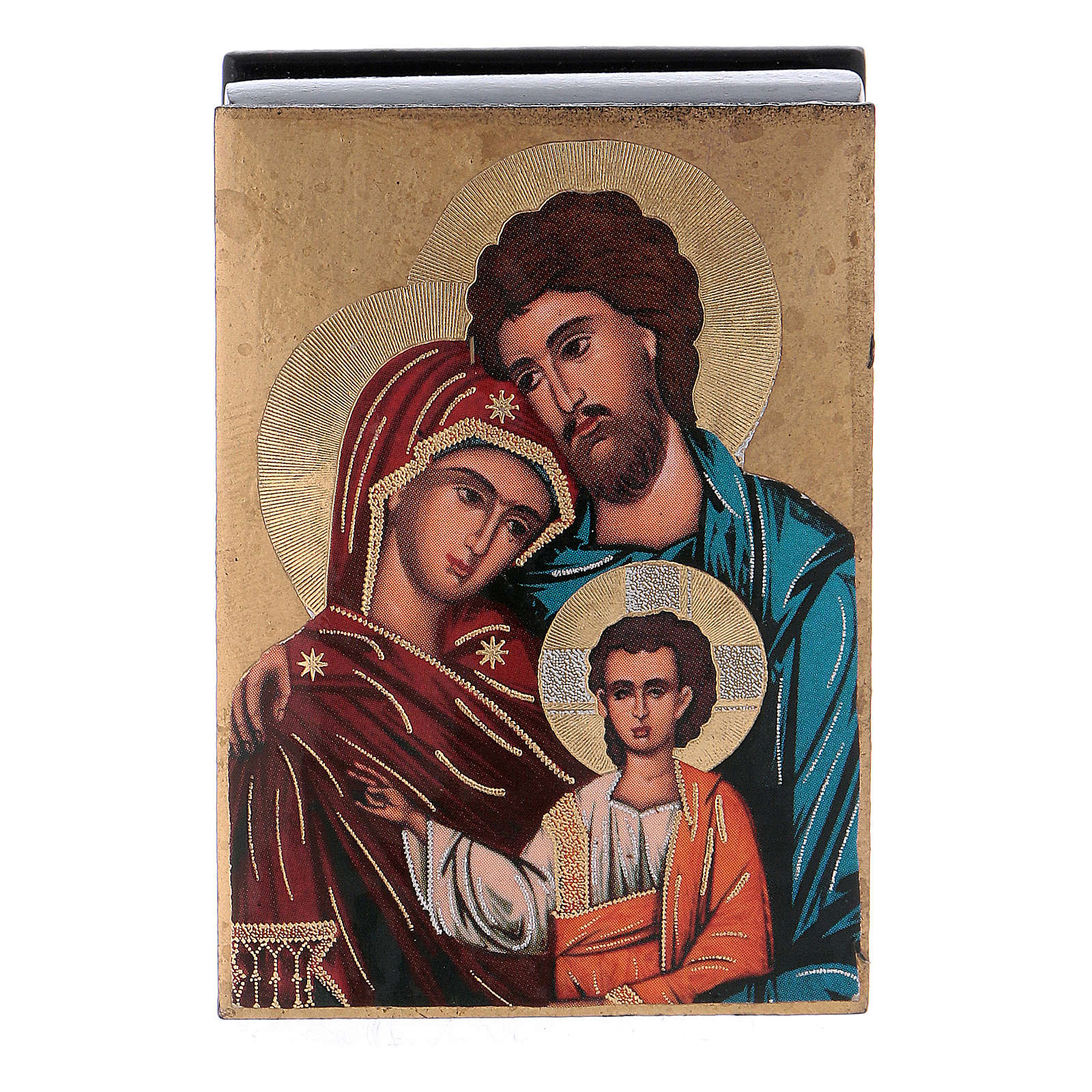 Russian papier-mâché and lacquer box The Holy Family 7x5 cm 4