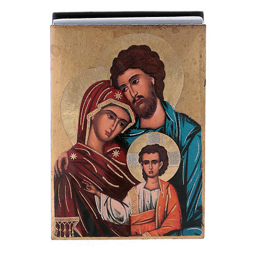 Russian papier-mâché and lacquer box The Holy Family 7x5 cm 1