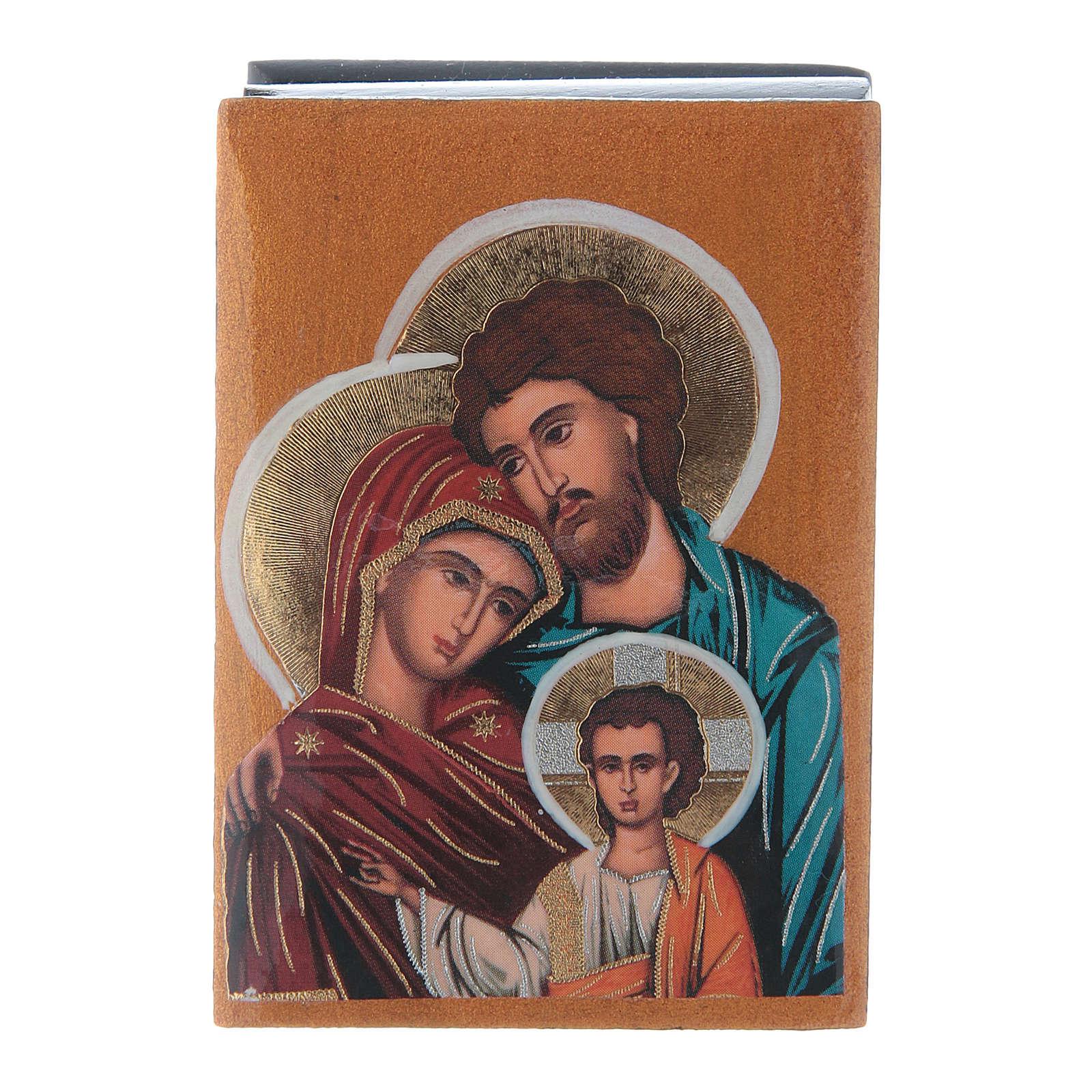 Scatola cartapesta russa Sacra Famiglia 7X5 cm 4