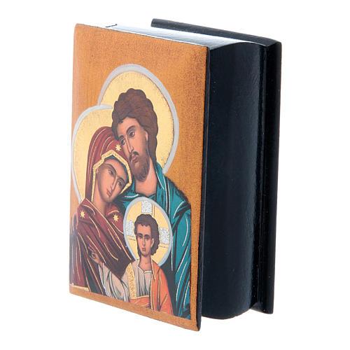 Scatola cartapesta russa Sacra Famiglia 7X5 cm 2