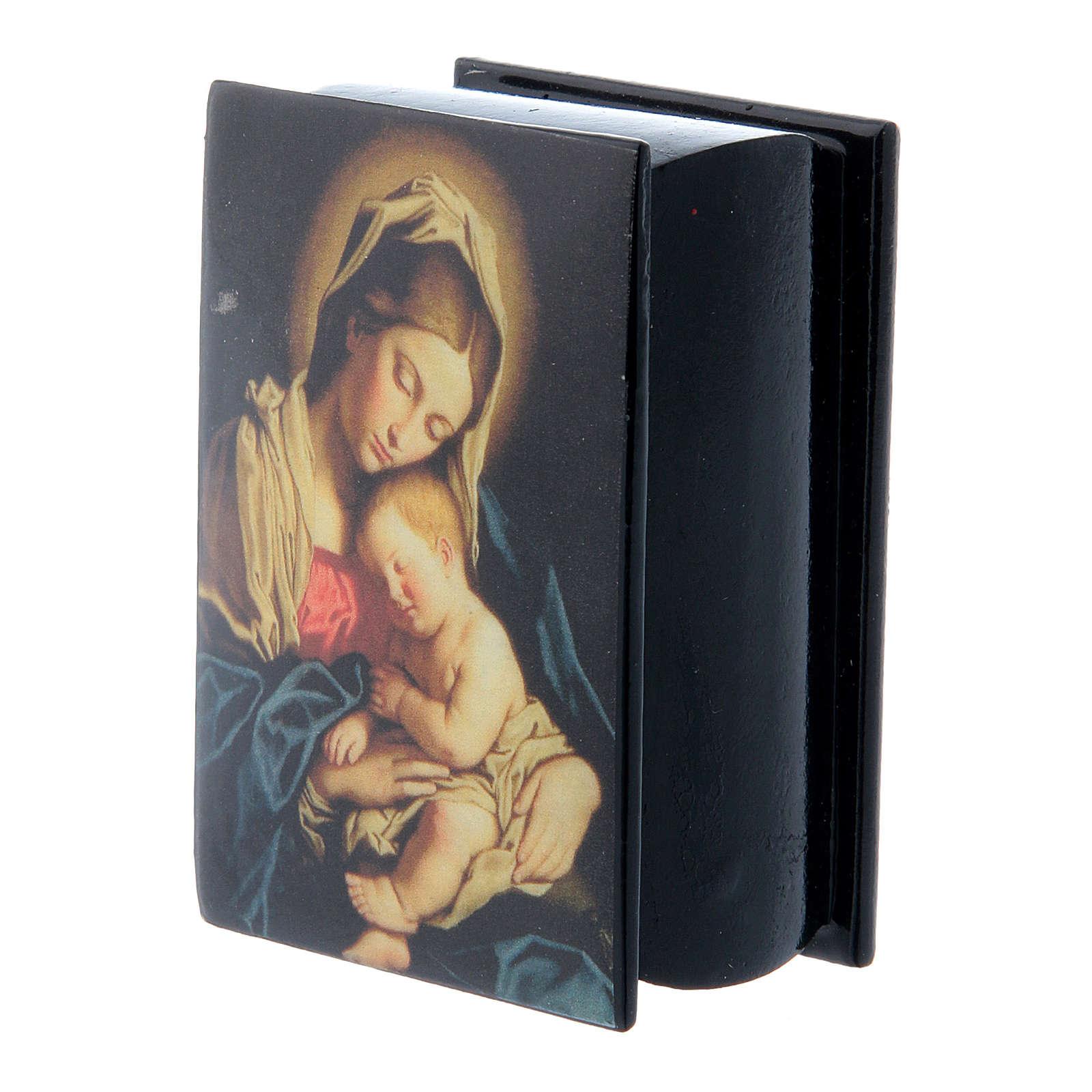Lacca russa decorata Madonna col Bambino 7X5 cm 4