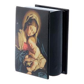Lacca russa decorata Madonna col Bambino 7X5 cm s2