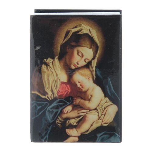 Lacca russa decorata Madonna col Bambino 7X5 cm 1