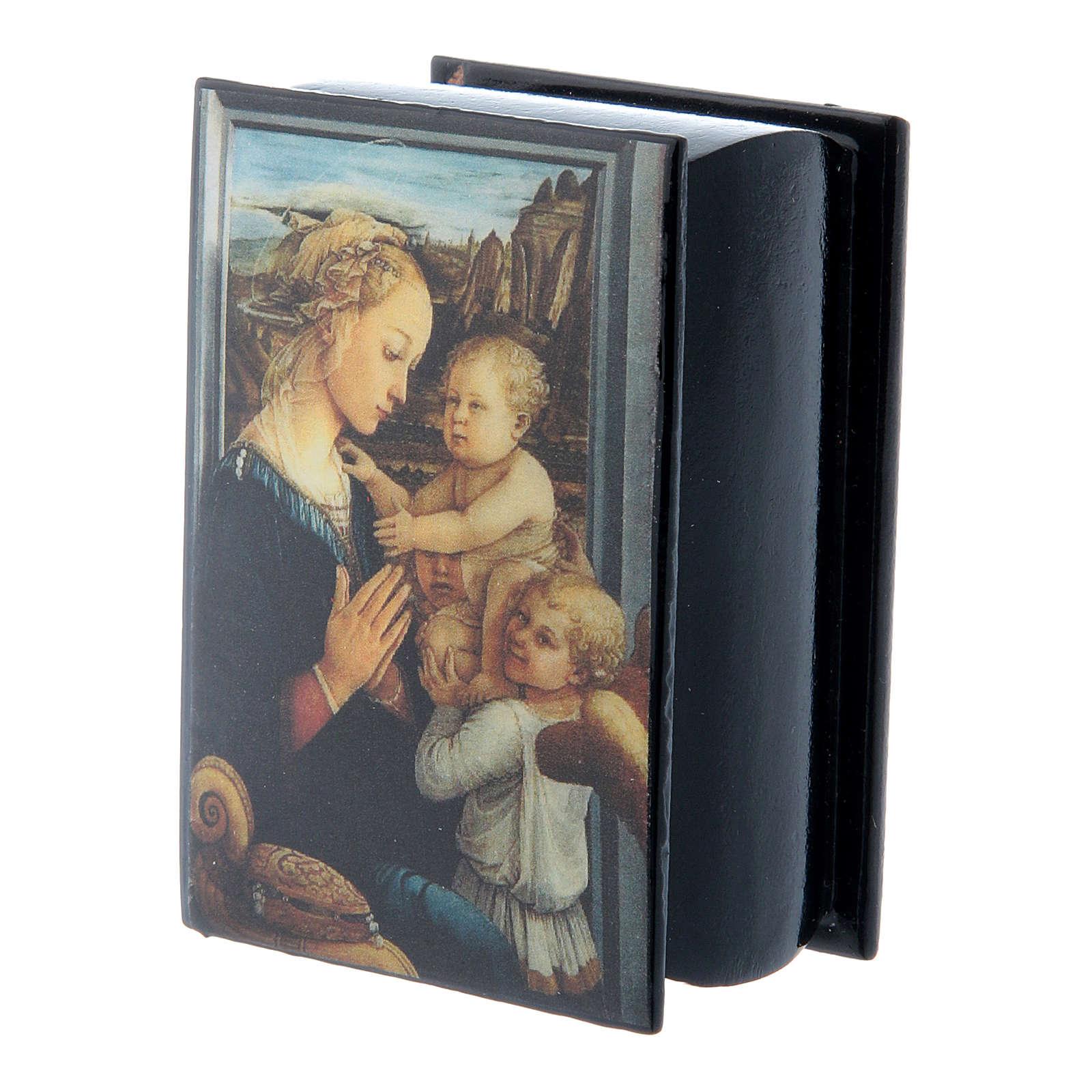 Scatola cartapesta russa Madonna col Bambino e Angeli 7X5 cm 4