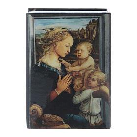 Scatola cartapesta russa Madonna col Bambino e Angeli 7X5 cm s1