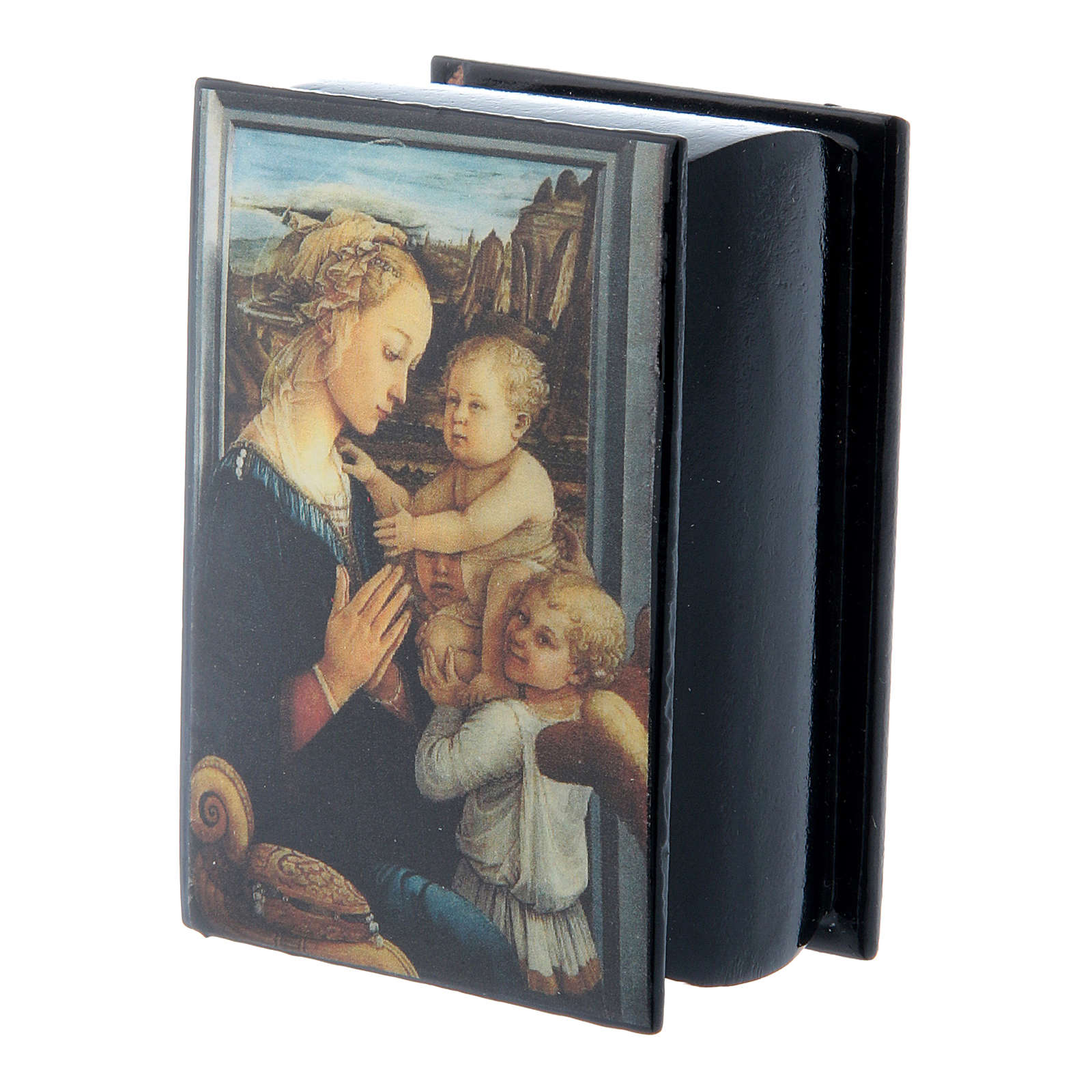 Russian papier-mâché and lacquer box Madonna and Child by Lippi 7x5 cm 4