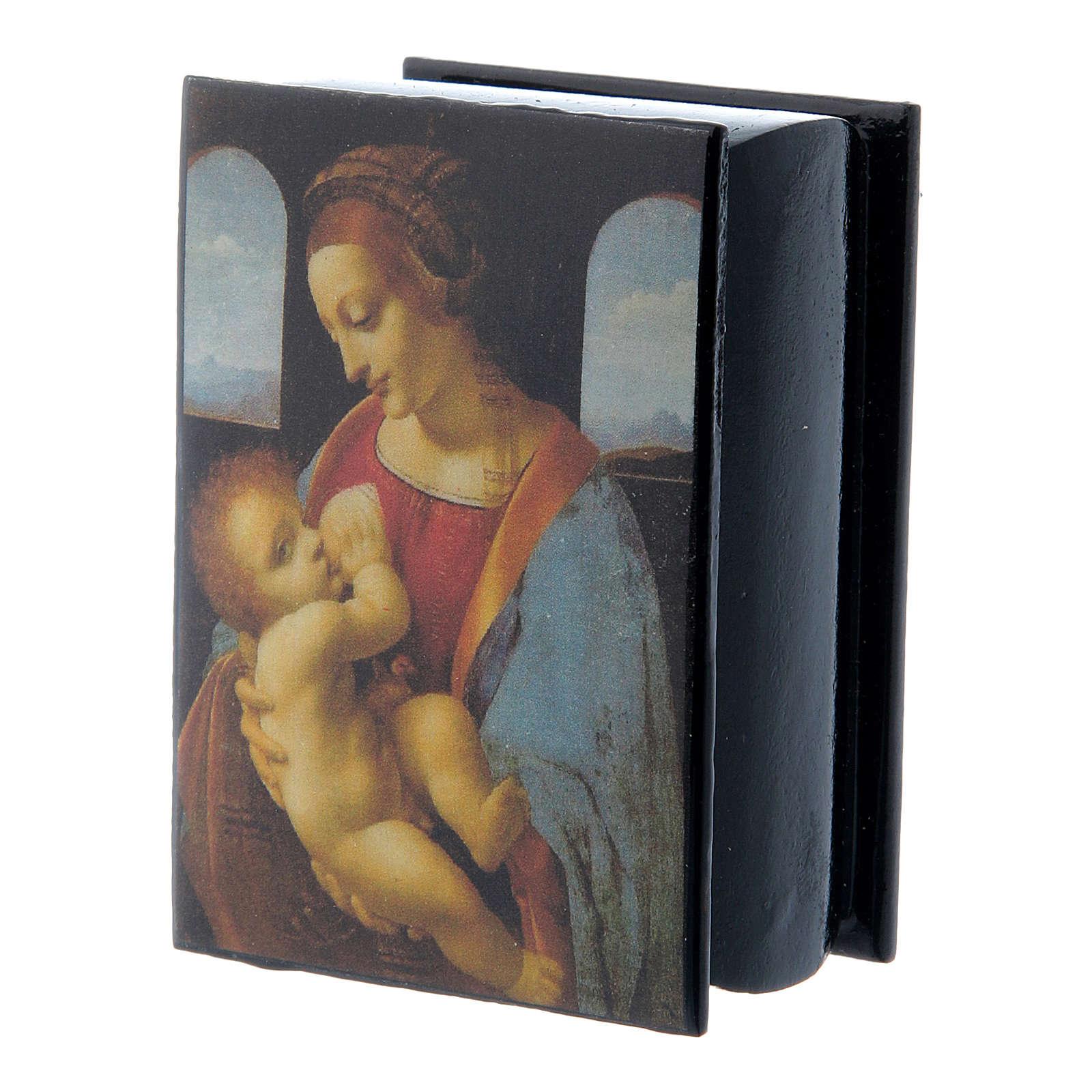 Russian papier-mâché and lacquer box Madonna Litta 7x5 cm 4
