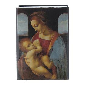 Russian papier-mâché and lacquer box Madonna Litta 7x5 cm s1