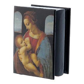 Russian papier-mâché and lacquer box Madonna Litta 7x5 cm s2