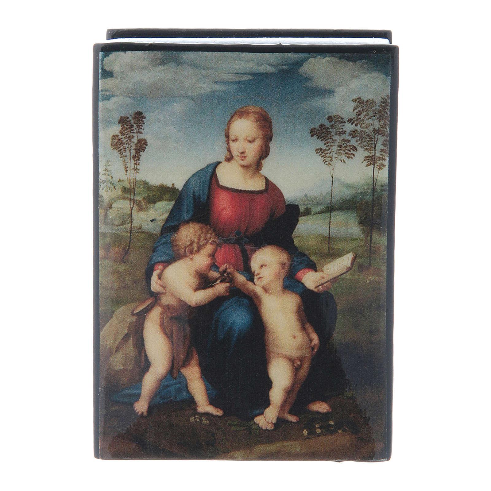 Russian papier-mâché and lacquer box Madonna del Cardellino 7x5 cm 4