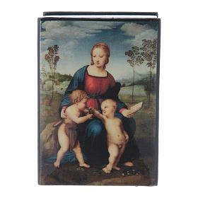 Russian papier-mâché and lacquer box Madonna del Cardellino 7x5 cm s1