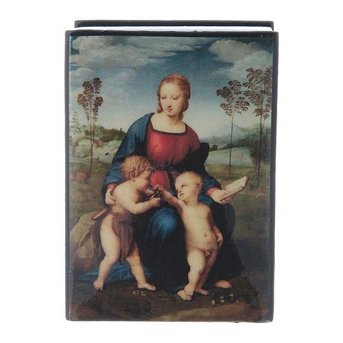 Russian papier-mâché and lacquer box Madonna del Cardellino 7x5 cm 1