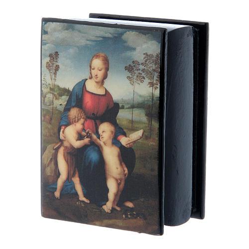 Russian papier-mâché and lacquer box Madonna del Cardellino 7x5 cm 2