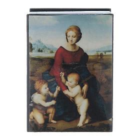 Russian papier-mâché and lacquer box Madonna del Prato 7x5 cm s1