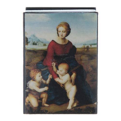 Russian papier-mâché and lacquer box Madonna del Prato 7x5 cm 1