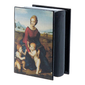 Russian papier-mâché and lacquer box Madonna del Prato 7x5 cm s2