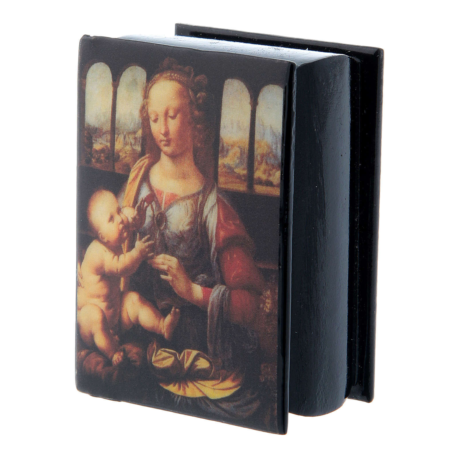 Russian papier-mâché and lacquer box Madonna of the Carnation 7x5 cm 4