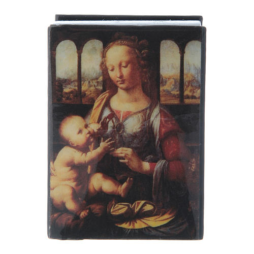 Russian papier-mâché and lacquer box Madonna of the Carnation 7x5 cm 1