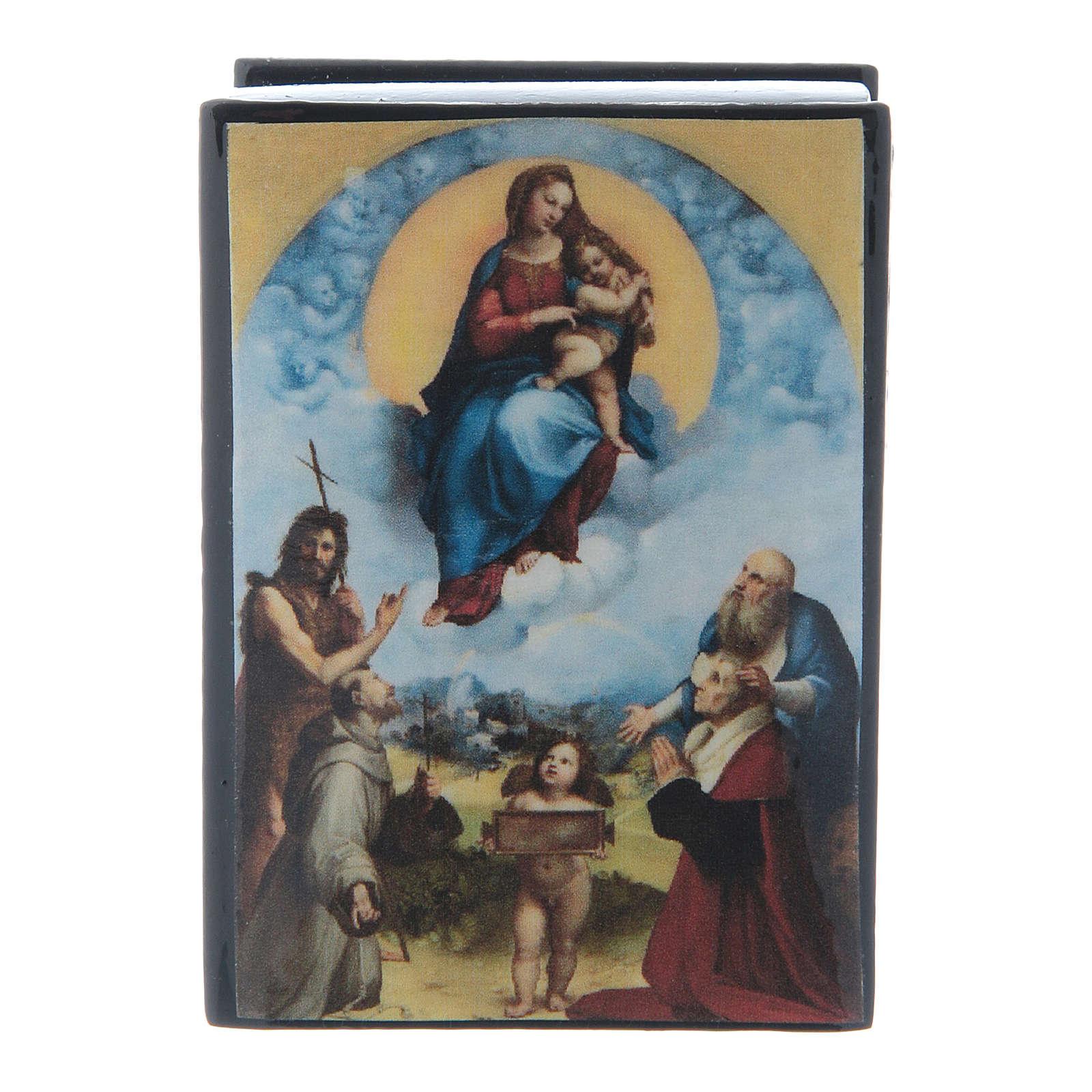 Scatola dipinta russa La Madonna di Foligno 7X5 cm 4