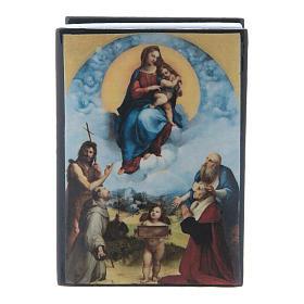 Russian papier-mâché and lacquer box Madonna of Foligno 7x5 cm s1