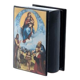 Russian papier-mâché and lacquer box Madonna of Foligno 7x5 cm s2