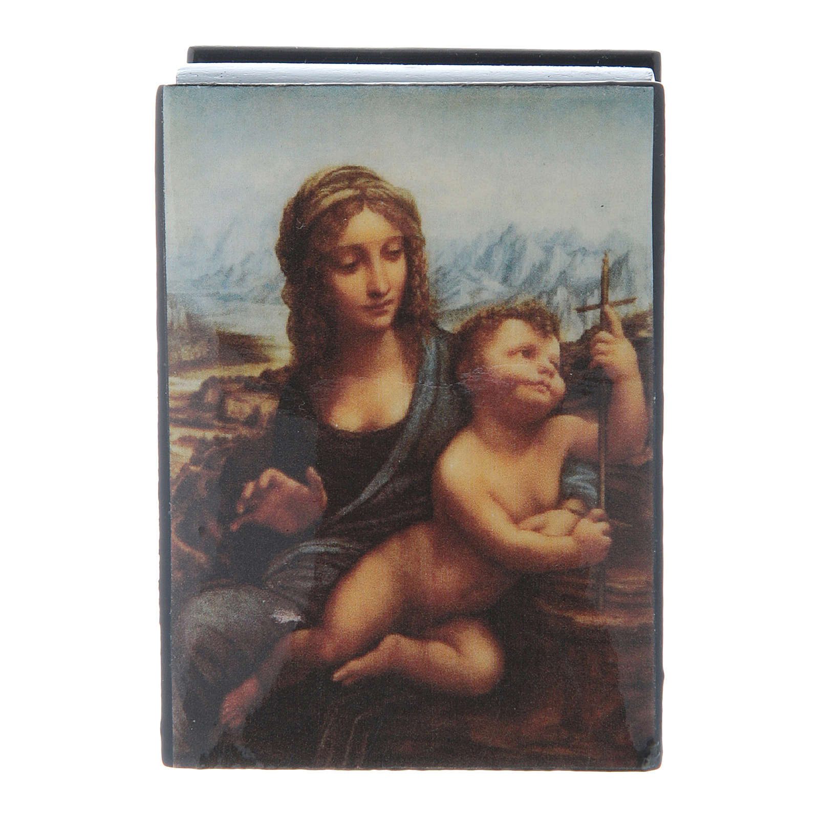 Russian papier-mâché and lacquer box Madonna of the Yarnwinder 7x5 cm 4