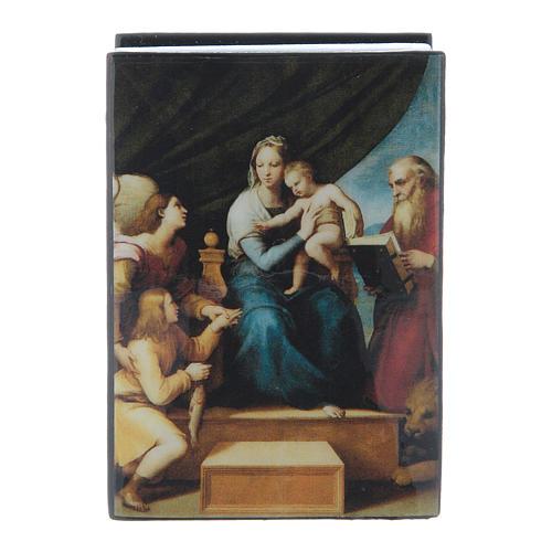 Russian papier-mâché and lacquer box Madonna of the Fish 7x5 cm 1