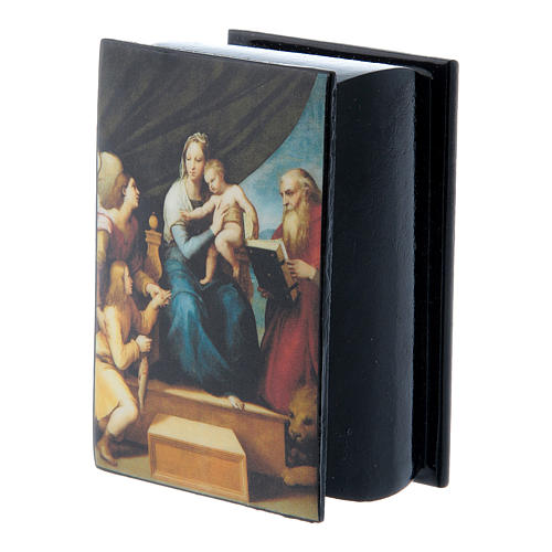 Russian papier-mâché and lacquer box Madonna of the Fish 7x5 cm 2
