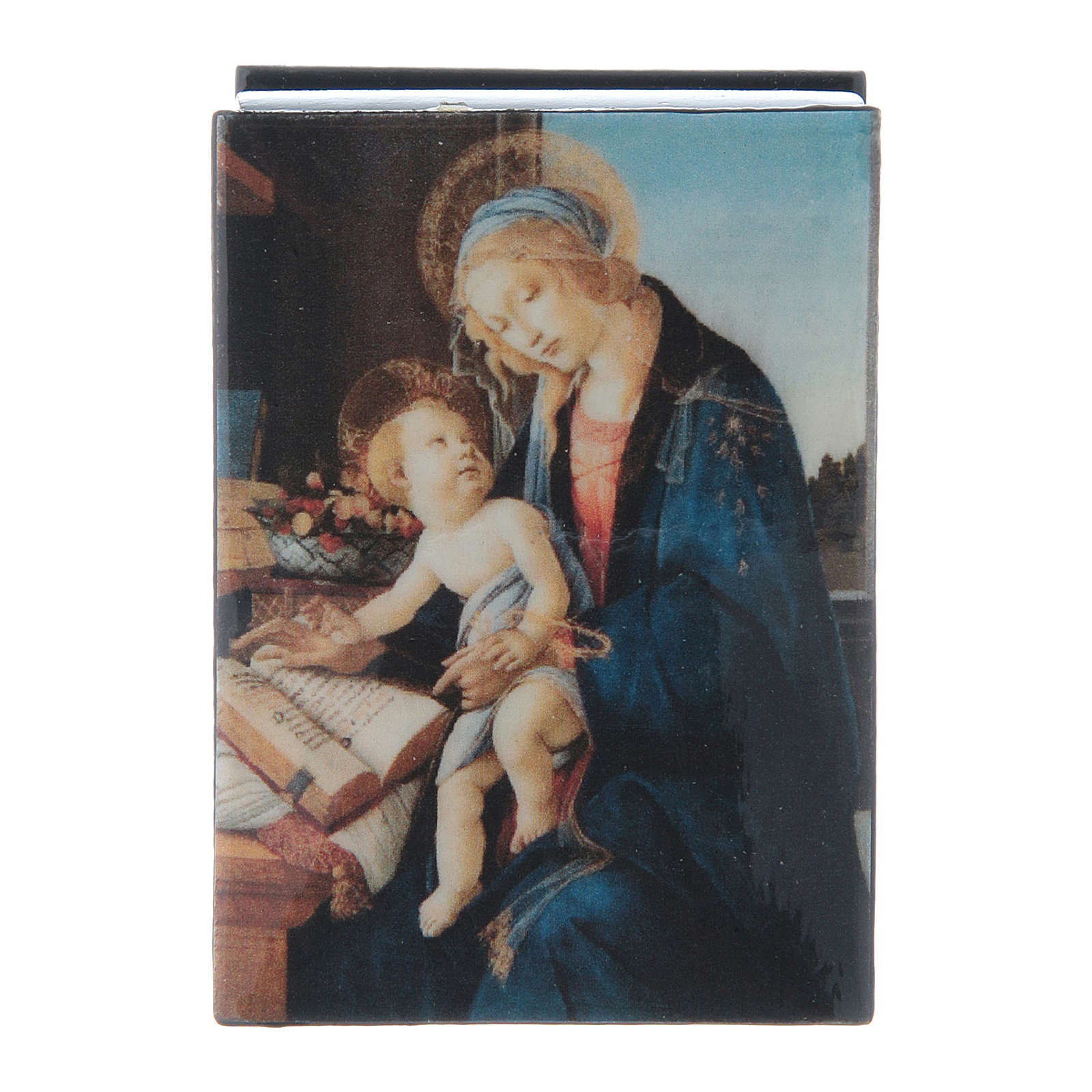 Russian papier-mâché and lacquer box Madonna of the Book 7x5 cm 4