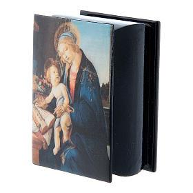 Boîte papier mâché russe La Madone du Livre 7x5 cm s5
