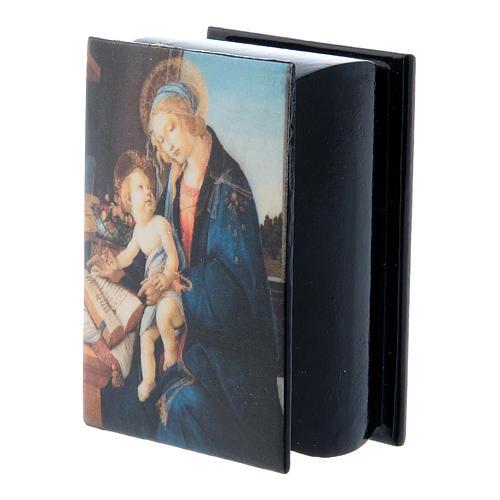 Boîte papier mâché russe La Madone du Livre 7x5 cm 2