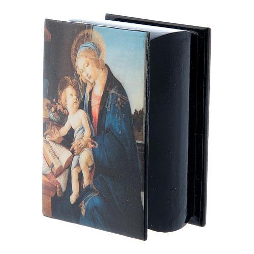 Boîte papier mâché russe La Madone du Livre 7x5 cm 5