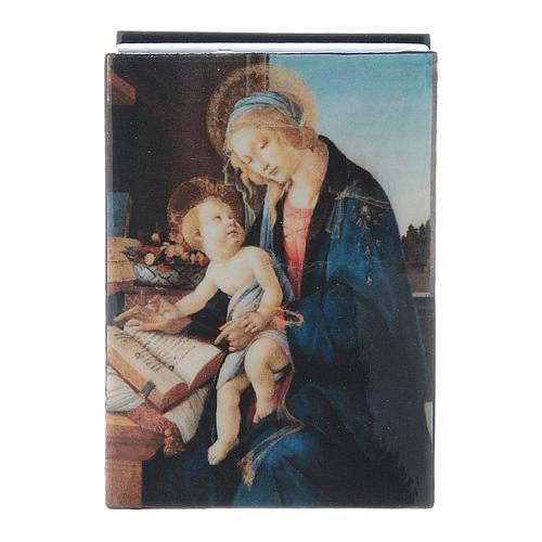 Scatola cartapesta russa La Madonna del Libro 7X5 cm 4