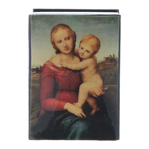 Russian papier-mâché and lacquer box Small Cowper Madonna 7x5 cm 1