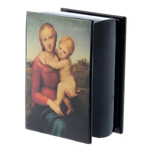 Russian papier-mâché and lacquer box Small Cowper Madonna 7x5 cm 2