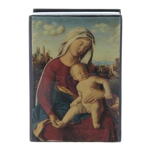 Scatola cartapesta russa Madonna con Bambino 7X5 cm 1