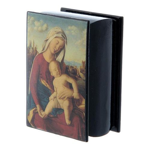 Scatola cartapesta russa Madonna con Bambino 7X5 cm 2