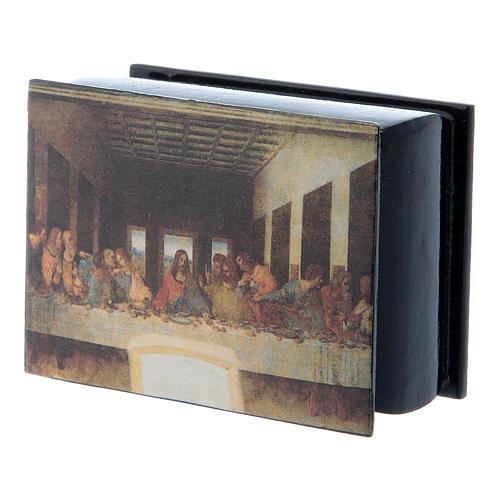 Caja rusa decorada papier machè Última Cena 7x5 cm 2