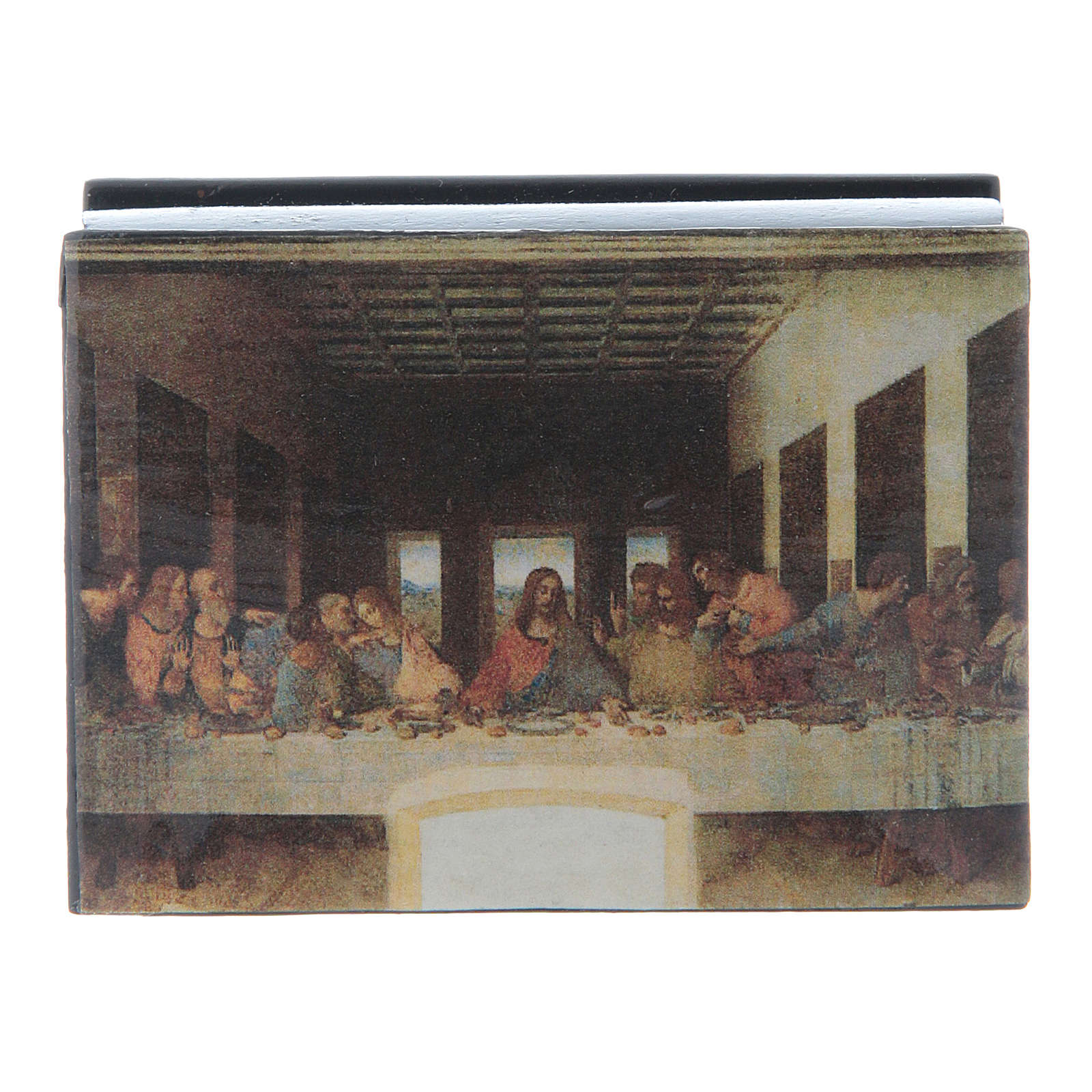 Russian papier-mâché and lacquer box The Last Supper 7x5 cm 4