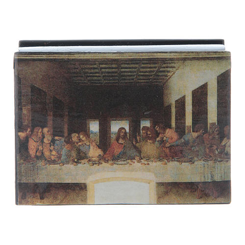 Russian papier-mâché and lacquer box The Last Supper 7x5 cm 1