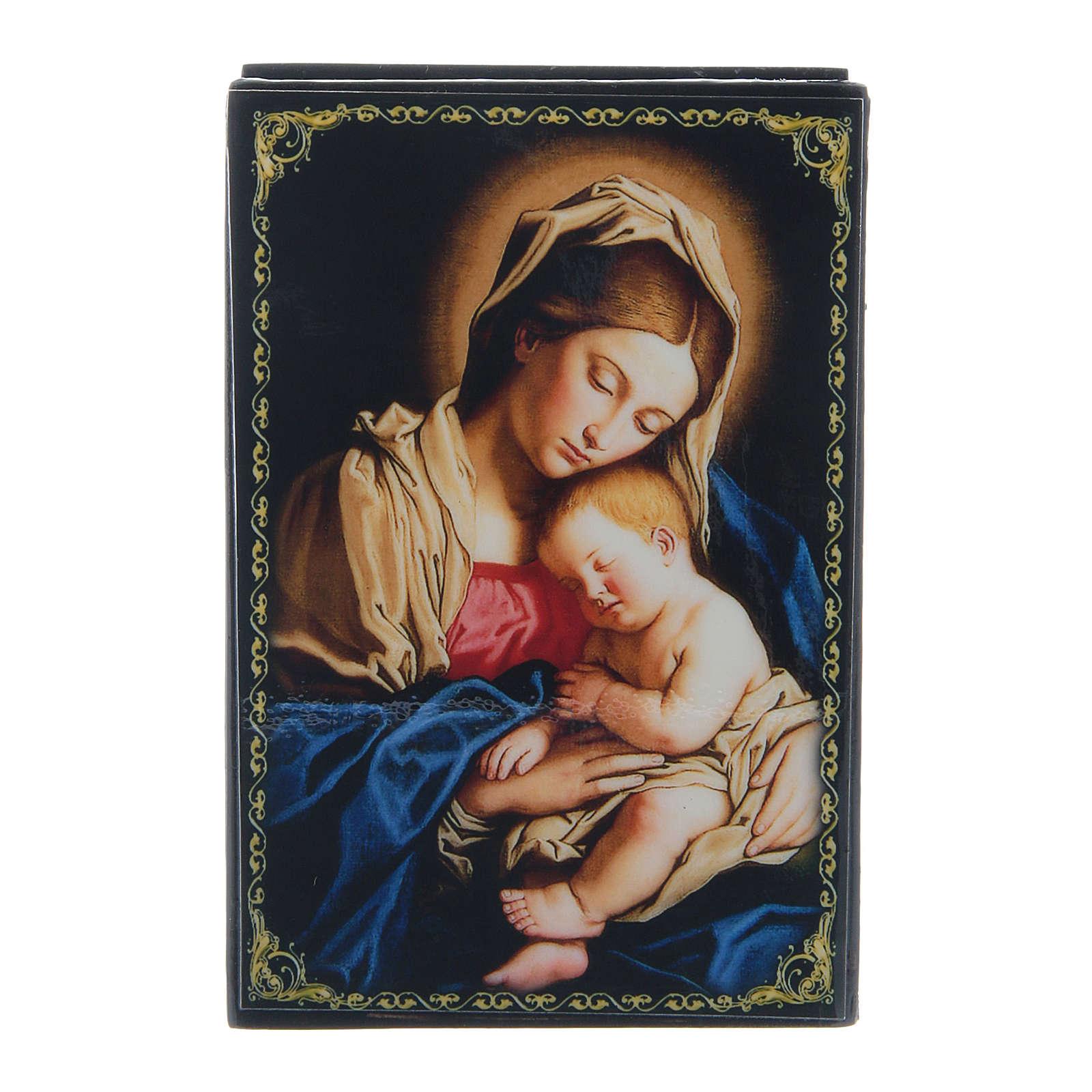 Lacca cartapesta russa Madonna col Bambino 9X6 cm 4