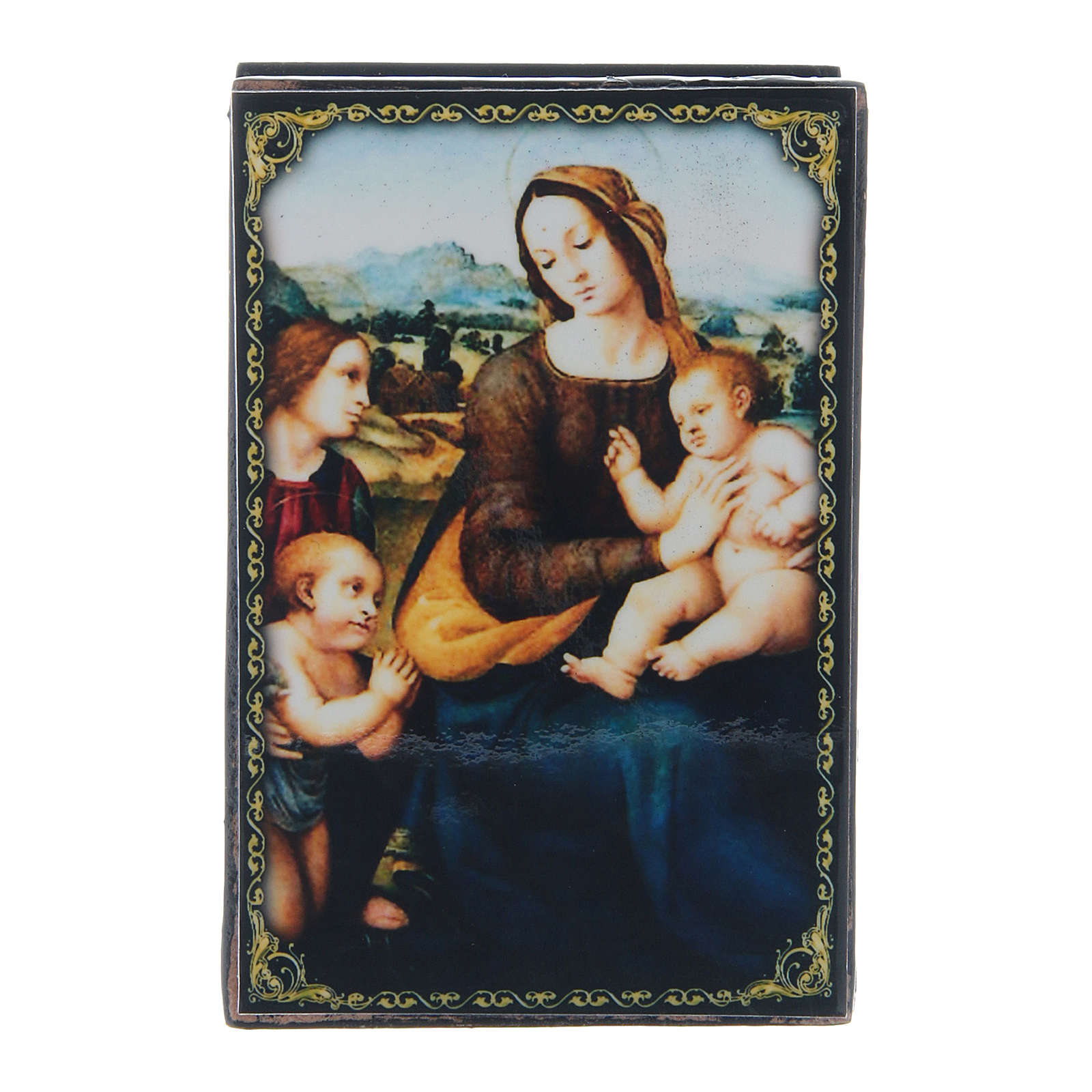 Russian papier-mâché and lacquer box Madonna and Child with Infant St. John and Angels 9x6 cm 4