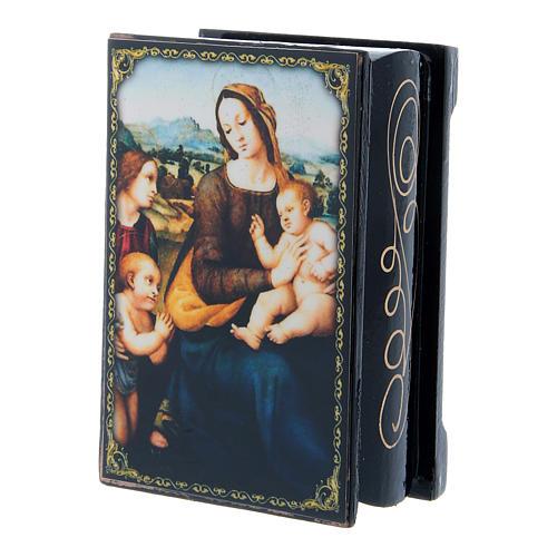 Scatoletta russa cartapesta Madonna col Bambino, S. Giovannino Angeli 9X6 cm 2