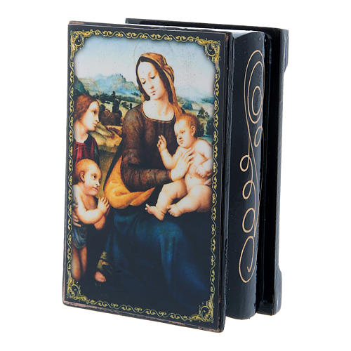 Russian papier-mâché and lacquer box Madonna and Child with Infant St. John and Angels 9x6 cm 2