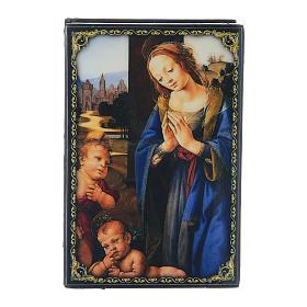 Scatola cartapesta russa Adorazione del Bambino con S. Giovannino 9X6 cm  s1