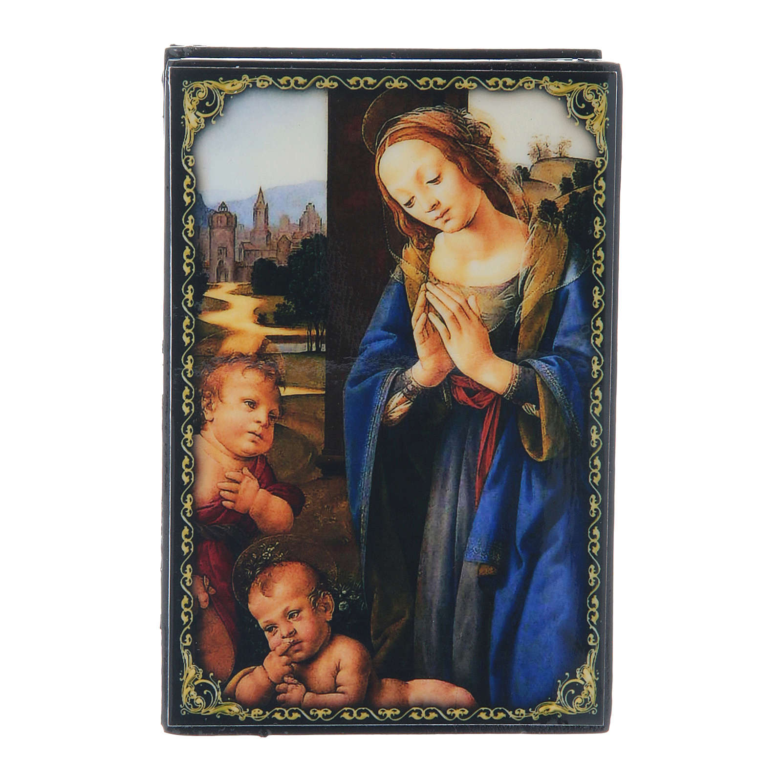 Russian papier-mâché and lacquer box Madonna adoring the Child 9x6 cm 4