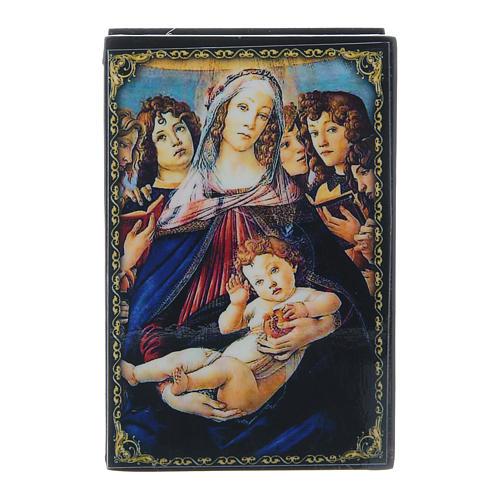 Russian papier-mâché and lacquer box Madonna of the Pomegranate 9x6 cm 1