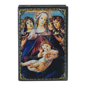 Laque papier mâché russe La Vierge à la grenade 9x6 cm s1